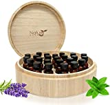 essential oil bottle tray - Large Essential Oil Box - Holds 37 Bottles - Real Wood Storage Organizer for 5ml, 10ml and 15ml and Roller Bottles - Sustainable Raw Finish can be Painted & Stained