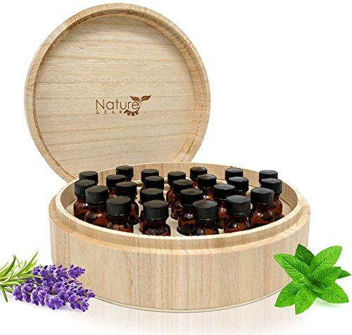 Large Essential Oil Box - Holds 37 Bottles - Real Wood Storage Organizer