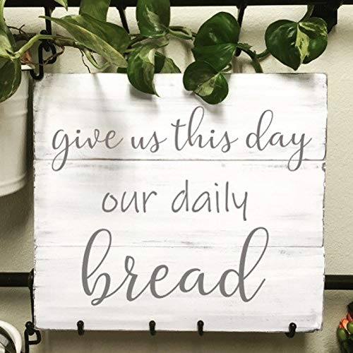(CELYCASY Give Us This Day Our Daily Bread Sign | Whitewash Sign | Kitchen Sign | Home Decor | Wood Kitchen | Distressed Sign)