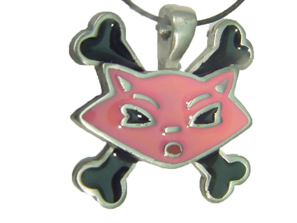 Pink Kitty Cat with Cross Bones Pewter Pendant ... Key Chain Charm