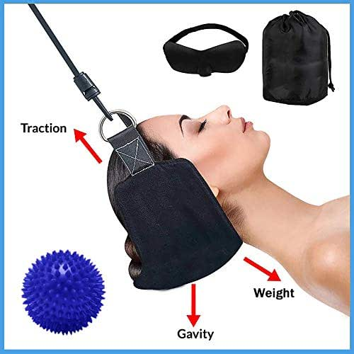 ProNeck Traction, Improved Head Hammock/Cervical Neck Traction. Plus Spiky Ball Massager & 3D Eye Mask - Great Relaxation Gift