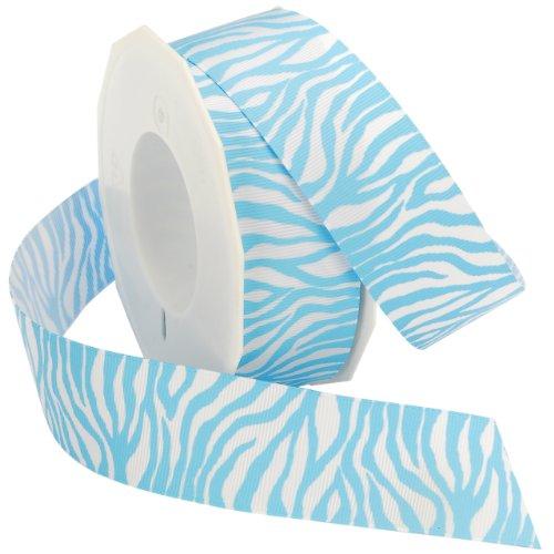 Morex Ribbon Zebra Fest Grosgrain Ribbon, 1-1/2-Inch by 20-Yard, Light Blue