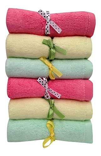 Bamboo Baby Washcloths, 6 Large Durable Soft 100% Organic Wipes, Baby Gift Stuff