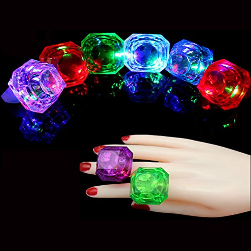 Bachelorette Party Light Up Rings Engagement Diamond Rings for Bride to be (Bachelorette Diamond Ring Fun Glasses)