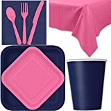 Disposable Party Supplies for 28 Guests - Navy and Hot Pink - Square Dinner Plates, Square Dessert Plates, Cups, Lunch Napkins, Cutlery, and Tablecloths: Premium Quality Tableware Set