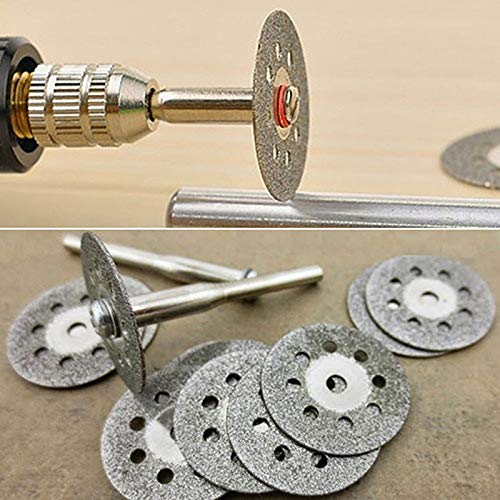 10Pcs Circular Saw Blades Cutting Wheel Discs and 2Pcs Mandrels Set Rotary Tool Carbon Steel Accessories Hard Material ()