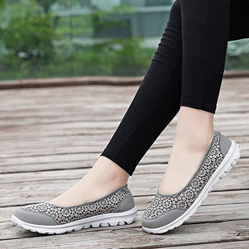 Maille Femmes Chaussures En Riou Gris Course Douces De Lacets Baskets Tissu 7xOwYO