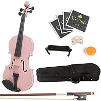 Mendini 3/4 MV-Violín de madera maciza rosa con estuche rígido, apoyo para hombros, arco, resina y cuerdas adicionales