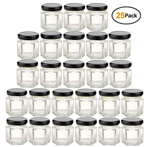Clear Hexagon Jars 1.5oz With Lids Black,Glass Jars For Spice,Foods,Jams,Liquid,Mason Jars For Storage 25 Pack