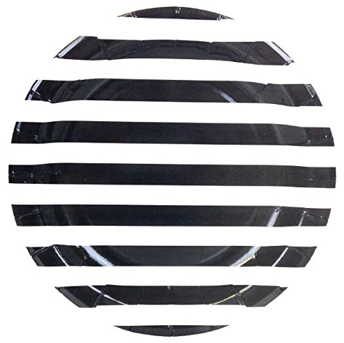 (Just Artifacts Round Paper Party Plates 9in (12pcs) - Black Striped - Decorative Tableware for Birthday Parties, Baby Showers, Grad Parties, Weddings, and Life)