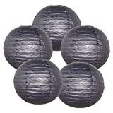 "Just Artifacts 12"" Black Paper Lanterns (Set of 5) - Click for more Chinese/Japanese Paper Lantern Colors & Sizes!"