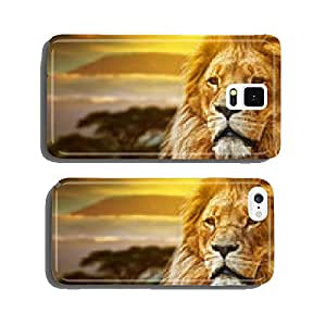 Lion portrait on savanna background and Mount Kilimanjaro cell phone cover case iPhone6 Plus