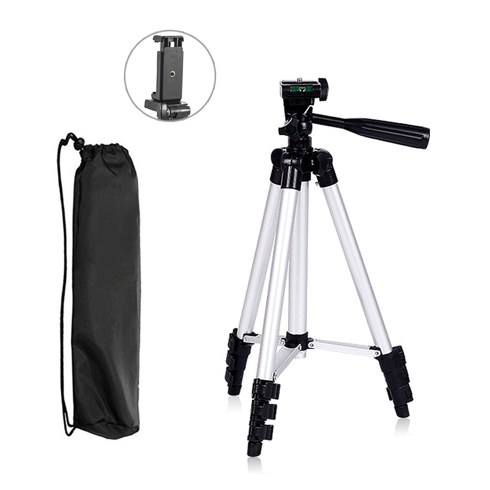 26 Inch/66CM Portable iPhone Camera Tripod Stand Holder with 1/4' Screw Thread, Adjustable Rotatable Retractable Aluminum Tripods with Phone Clip Clamp Konseen 4332317862