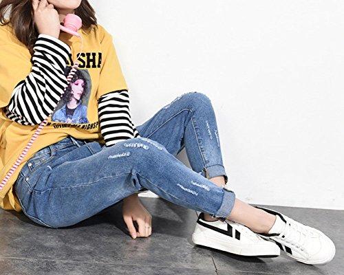 Skinny Estivi Elasticità Jeans Alta QitunC Jeans Logorio Pantaloni Jeans Pantaloni Affusolati Vita Donna Blu Patchwork w4ZxgEq