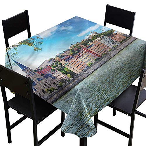 (home1love European Spill-Proof Table Cover Lyon City Village France for Square and Round Tables 70 x 70)