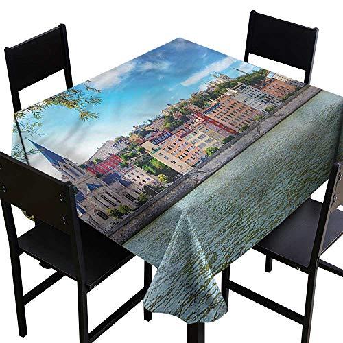 (SKDSArts Square Table Cover European,Lyon City Village France,W70 x L70 Square)