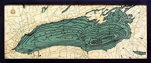 Lake Ontario 3-D Nautical Wood Chart, 13.5