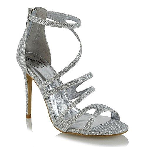 Alto Argento Donna Peep Glitter Sandalo Glitter Stiletto Piattaforma Toe GLAM Tacco ESSEX xv6w5qRIw