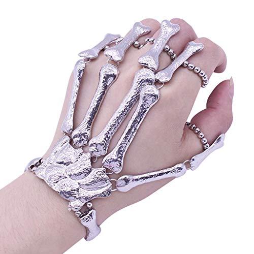 Clubs For Halloween (FILOL Halloween Decoration Halloween Props Gift, Nightclub Party Punk Finger Bracelet Gothic Skull Glove Atmosphere Decoration Craft Art)