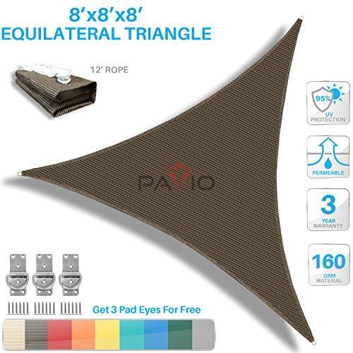 Patio Paradise 8' x8'x 8' Brown Sun Shade Sail Triangle Canopy - Permeable UV Block Fabric Durable Outdoor - Customized Available