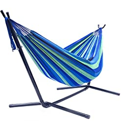 Garden and Outdoor Sorbus Double Hammock with Steel Stand Two Person Adjustable Hammock Bed – Storage Carrying Case Included (Blue/Green) hammocks
