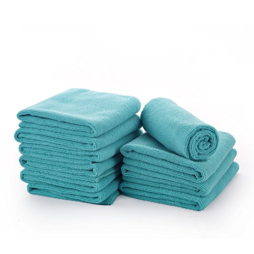 Microfiber Car Cleaning Cloths -10 Pack (12x16 Inch),Car Wash Towels Clean without Chemicals,High Absorbent,Lint-free,Streak-free ()