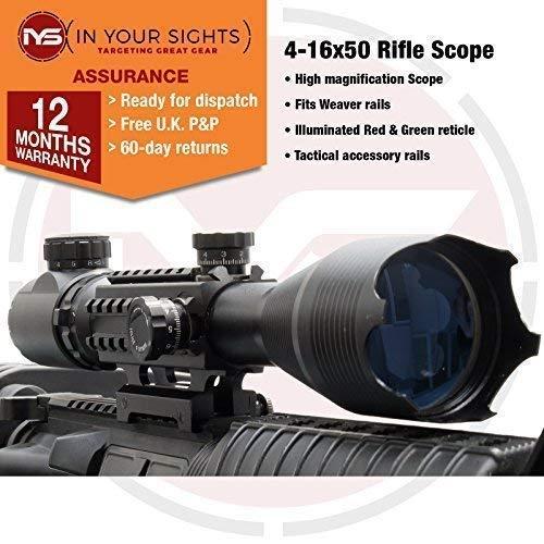 SUS MONUMENTOS 4-16x50 Alcance del rifle con T/áctico Rieles para TEJEDOR Rieles