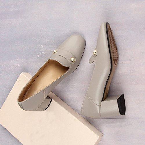 High Single Round Jqdyl Shoes Single Thick Grey heels Head Shoes Heel dw886I