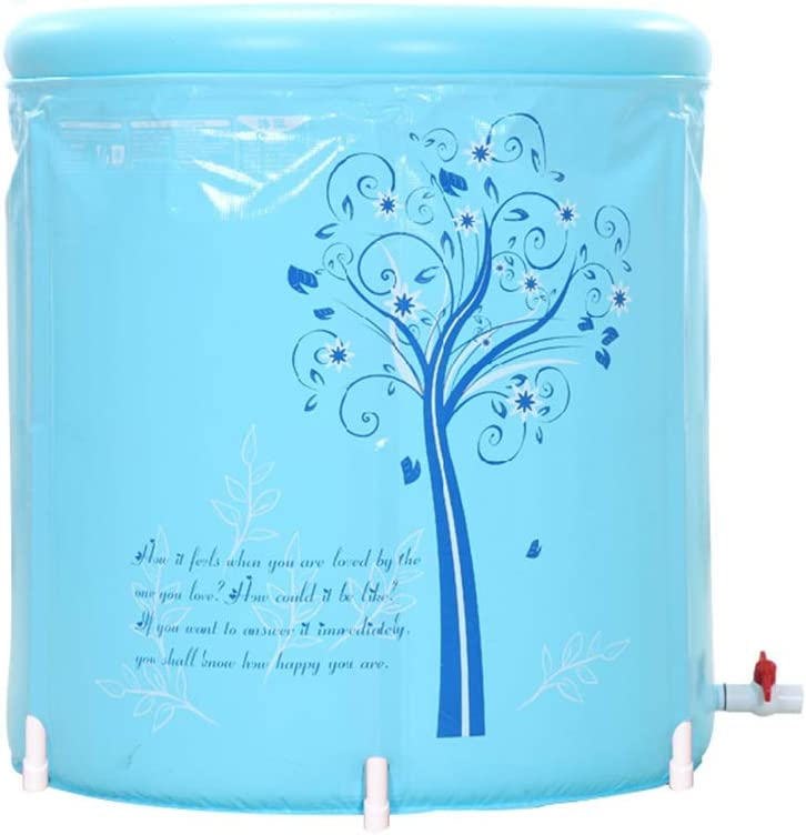 Bañera de plástico Plegable Tinas portátiles inflables Bañera de hidromasaje de PVC Bañera de inmersión portátil SPA Inflable para baño de Adultos con Bomba de Aire Grande y Azul (Tamaño : 65cm)