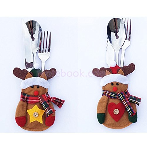 2 pcs Reindeer table hol Christmas Dinner Tablecloth Chai...