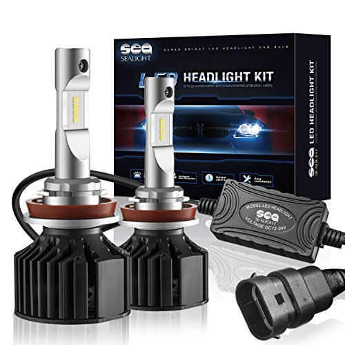 Kit Light Beam Fog (LED Headlight Bulbs H11/H8/H9 Conversion Kit (DOT Approved) SEALIGHT X2 Series DRL Low beam/Fog Light Bulbs - 16x CSP Les Auto Headlight LED Bulbs-8000LM 6000K Xenon White)