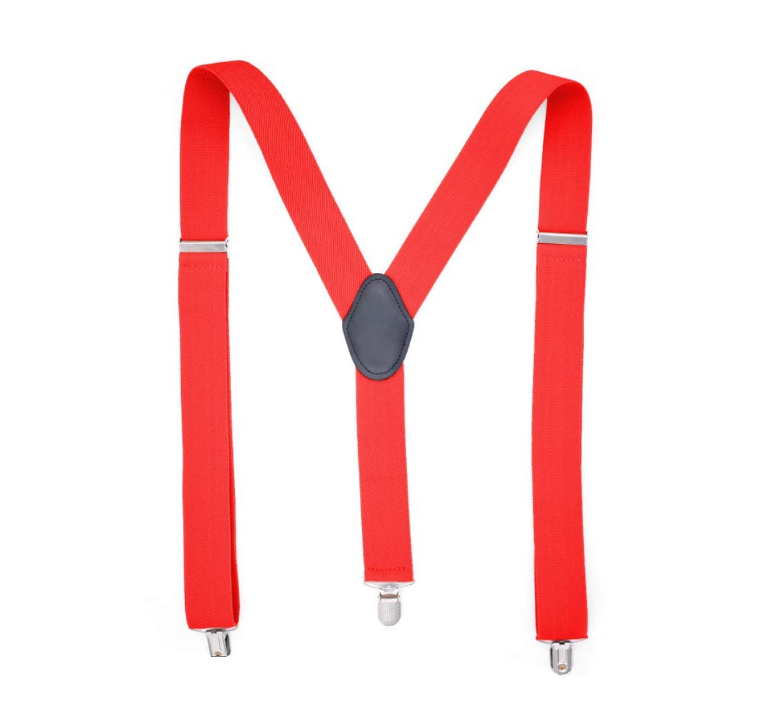 Mens Suspenders Heavy Duty 1.4 Inch Wide X Shape 4 Clips Braces Cowboy Blue