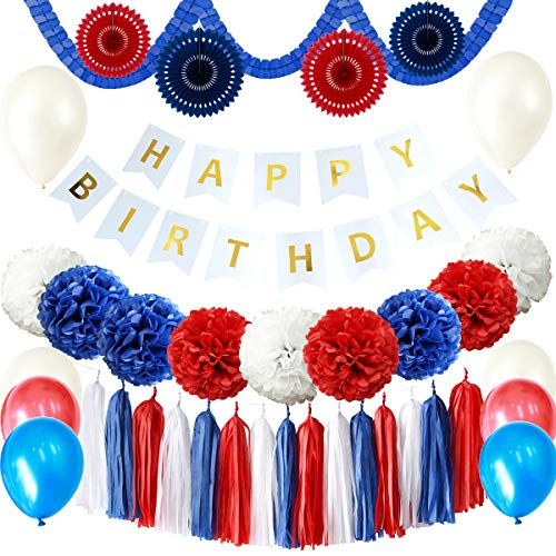 Carnival 43PCS Red Navy Blue White Happy Birthday Baby Shower Party Decoration Supply Kit - Happy Birthday Banner, Tissue Paper Pom Pom, Paper Fan, Tassel Garland, Latex Balloon, Clover Garland ()