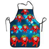 MPLLUF Strawberry Adjustable Women's Men's Funny Creative Print Cooking Aprons