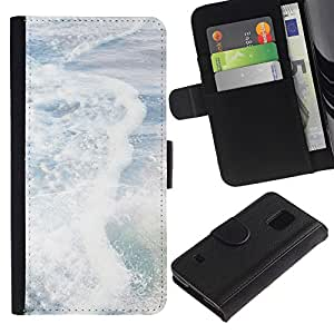 Planetar® Modelo colorido cuero carpeta tirón caso cubierta piel Holster Funda protección Para SAMSUNG Galaxy S5 V / i9600 / SM-G900 ( Sea Pearly White Sun Summer Surf Waves )