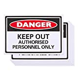 6-Pack of Authorized Personnel Only Sign - Safety Signs, Danger Signs, No Admittance Signs for Personal Property or Business Location, Black and White - 11.7 x 7.8 Inches