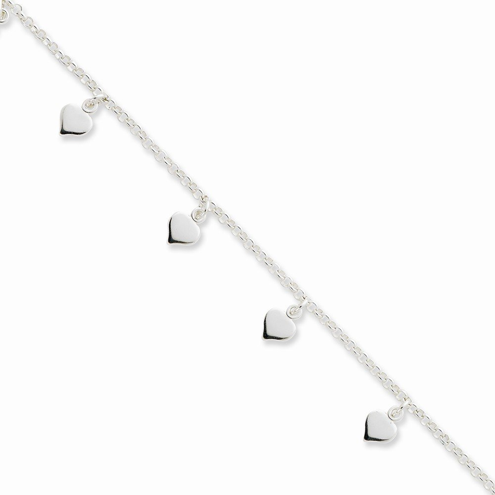 Box Sterling Silver Polished Hearts Anklet