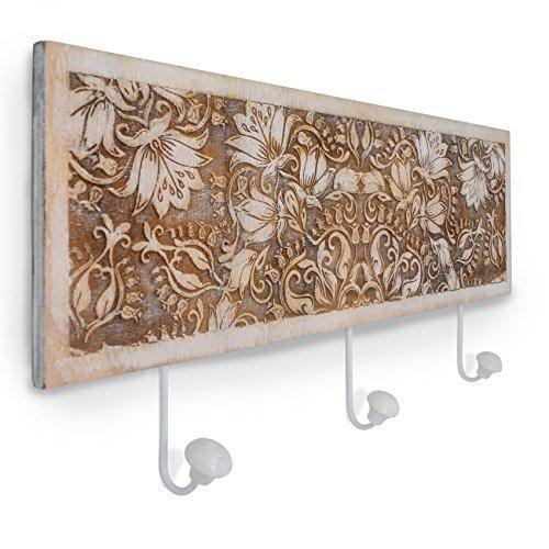 gbHome GH-6797 Decorative Wooden Key Rack With Engraved Art, Entryway Wall Mounted Hanging Wood Storage Keyrack Entrance Door Hanger Organizer Holder, Rustic Antique Distressed Design (Vintage Oak Valet)