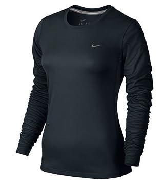 33b61278 Nike Women's Dri Fit Miler UV Long Sleeve Reflective Running Shirt Black  Small: Amazon.co.uk: Sports & Outdoors