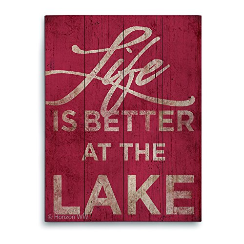 Life Is Better At The Lake Red Distressed Wood Textured Planked Wood Art Print Wall Décor 16x20