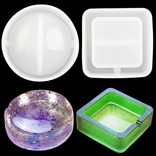Zoylink 2PCS Resin Casting Mold DIY Round Square Shaped Silicone Craft Mold Ashtray Mold