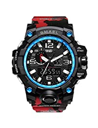 Bounabay Men's Military Digital Sport Watch Water Resistant Outdoor LED Back Light Display, Camouflage Red