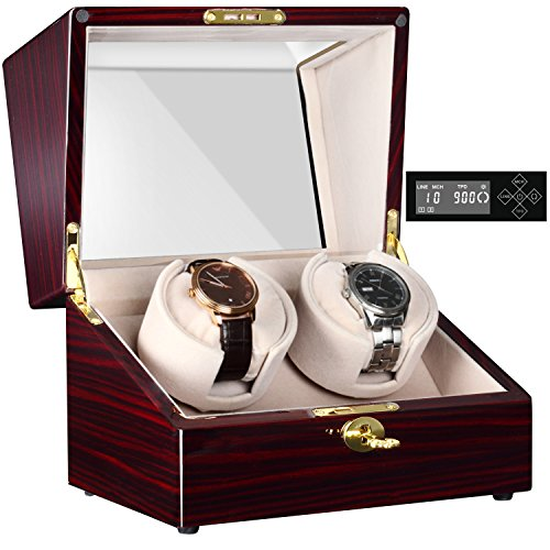 Watch Winder (CHIYODA Automatic Double Watch Winder with Two Quiet Mabuchi Motors, LCD Digital Screen)