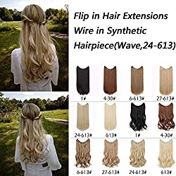 AisiBeauty Flip in Hair Extensions Wire In Synthetic Hair Invisible Secret Wire Hidden Hair Extension Curly Headband Hair Extension(24/613)