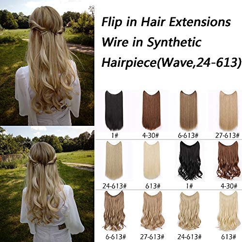Beauty : AISI BEAUTY Flip in Hair Extensions Wire In Synthetic Hair Invisible Secret Wire Hidden Hair Extension Curly Headband Hair Extension(24/613)