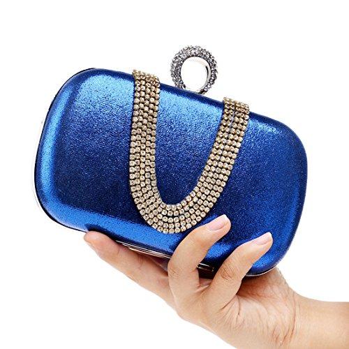 Banquete Las Diamante Small Bolso En Forma Noche color Blue Igspfbjn De Lady Silver Bag U Moda Mujeres Taladro Shoulder wICfqnvt