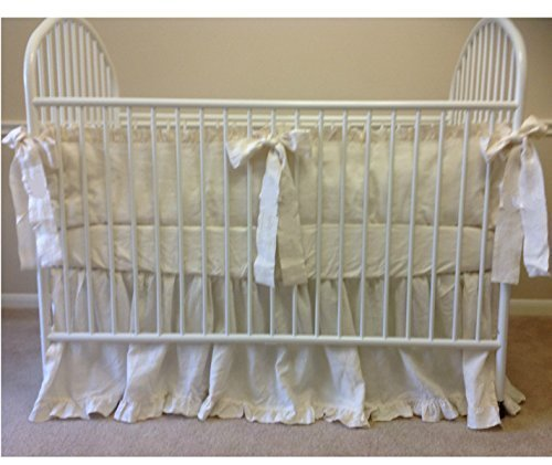 Cream Baby Bedding - Crib Bumpers, Crib Skirt, Crib Sheets, Handmade Natural Linen Crib Bedding Set, Cream Baby Bedding Set, FREE SHIPPING