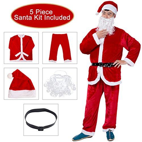Deluxe Mrs Santa Costume (Besteamer Christmas Santa Claus Costume Set Men's Deluxe Santa Suit Red)