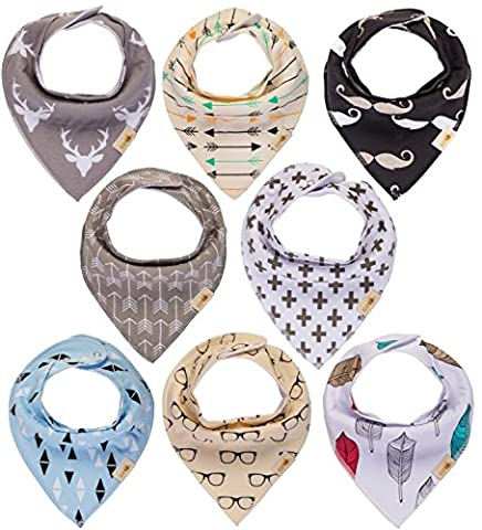 """Baby Bandana Drool Bibs by Gift it! Unisex 8-Pack Gift Set for Drooling and Teething, 100% Organic Cotton, Soft and Absorbent """"Black and Grey Arrow Set"""" - for Boys and Girls By Gift it!"""