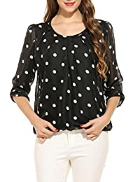 Meaneor Women Round Neck 3 4 Cuff Sleeve Polka Dot Loose Chiffon Blouse Tops